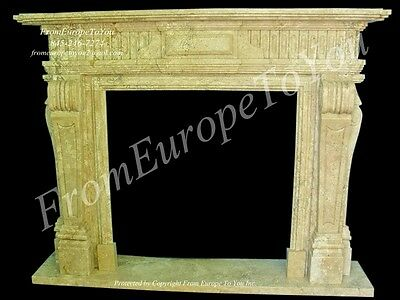 Egypt Cream Marble Hand Carved Fireplace Mantel Tl003