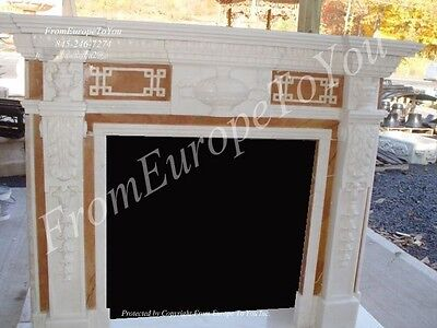 Hand Carved Marble 2 Tone Fireplace Mantel -  Mantel#10