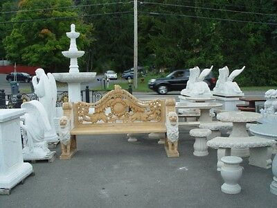 Beautiful Hand Carved Marble Lion Garden Bench - Ns48 -