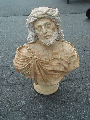 Hand Carved Travertine Marble Bust Of Jesus Ay5