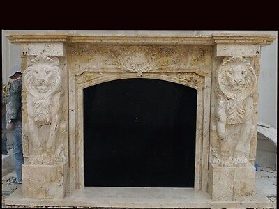 Massive Hand Carved Marble 28' Fireplace Mantel Fpm1