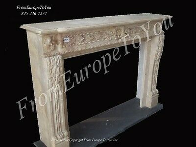 Solid Hand Carved Marble European Design Estate Fireplace Mantel Mby166