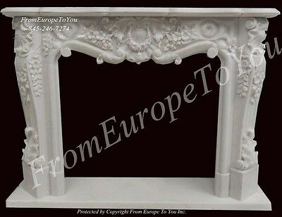 Beautiful Hand Carved Fangshan White Fireplace Mantel - Fpm27