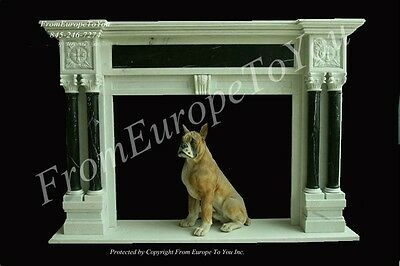 Hand Carved Solid Marble Classical Fireplace Mantel - Mbz163