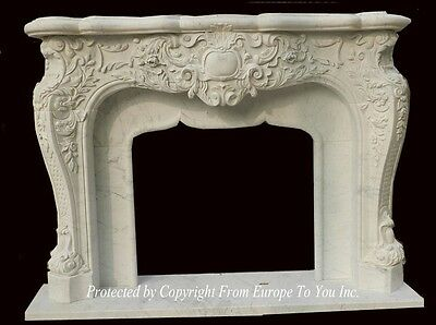 Beautiful Hand Carved French Style Carrera Marble Fireplace Mantel - Jx61