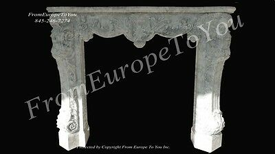 Italian Hand Carved Carrera Marble Living Room Fireplace Mantel Mp4