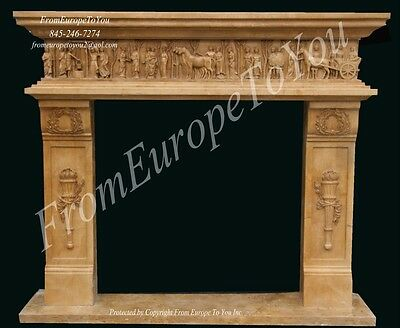 Nice Hand Carved Marble Roman Style Fireplace Mantel - Fpm574