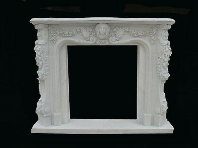 Hand Carved Solid Marble Beautiful Fireplace Mantel Pb4