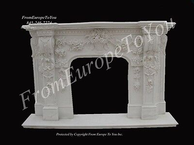 Beautiful Hand Carved Floral Fireplace Mantel #la002