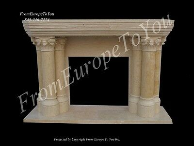 Beautiful Estate Hand Carved Marble Egypt Cream Fireplace Mantel As2