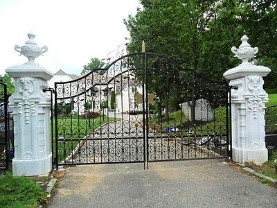 Great Hand Carved Marble Pillars With Iron Gates