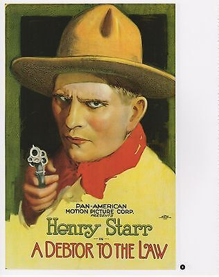 "2003 Vintage COWBOY /""A DEBTOR TO THE LAW/"" STARR MINI POSTER Art Plate Lithograph"