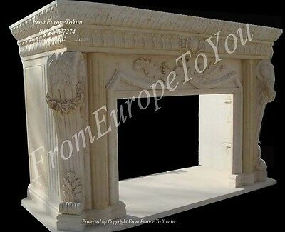 Large Hand Carved Marble Fireplace Mantel Fgd055