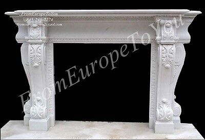 Large Hand Carved Marble Fireplace Mantel Fgd058