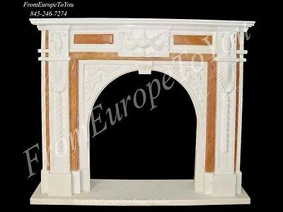 Beautiful Hand Carved Marble Fireplace Mantel Tle8