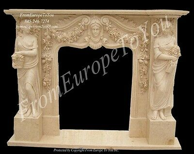 Figural Hand Carved Marble Fireplace Mantel Js901