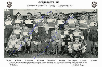 "BARBARIANS 1948 (v Australia) 12"" x 8"" RUGBY TEAM PHOTO PLAYERS NAMED"