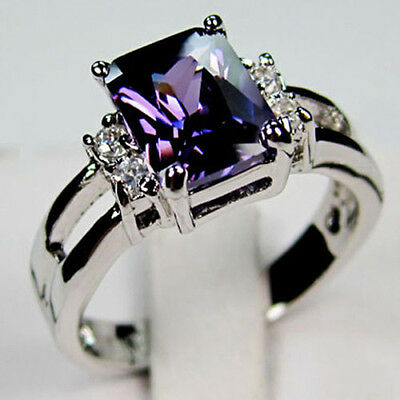 Purple Amethyst CZ Engagement Ring 10KT White Gold Filled Wedding Band Size 5-10