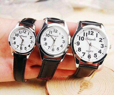 6 pcs old man lady easy read time leather wrist watches Grandparents gifts LK14