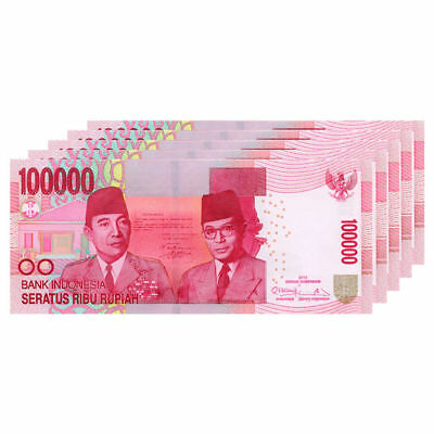 Indonesian Rupiah 100,000 X 5 Pieces = 500,000 Idr Uncirculated Indonesia