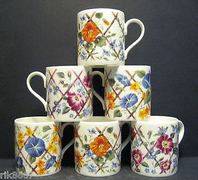 A Set Of Six Floral Trellies Balmoral Fine Bone China Mugs Cups Beakers To Clear