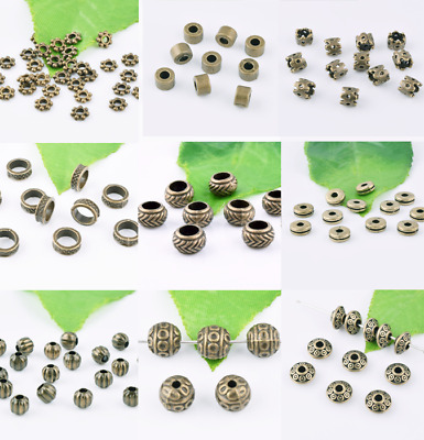 Bronze Brass Spacer Beads Metal Loose Charm Jewelry DIY Finding Various Sizes