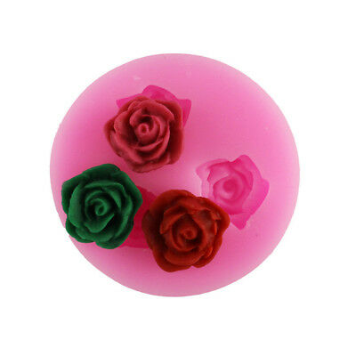NEW Silicone Candle Fondant Mold 3D Mini Cute Rose Flower Cake Decorating Mould