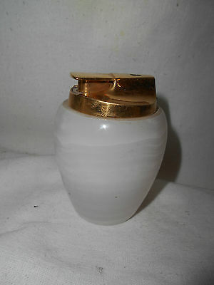 Stunning Retro Ronson MARBLE Onyx 9cms Table Lighter SILVER PLATED Needs Flint