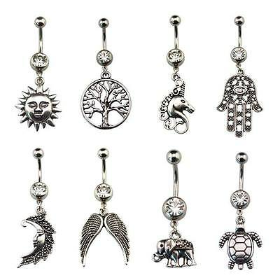 Wiccan Pagan Belly Bar / Navel Ring Piercing with Charm Dangle - Choose Design
