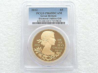 2012 British Diamond Jubilee £5 Five Pound Silver Gold Proof Coin PCGS PR69 DCAM