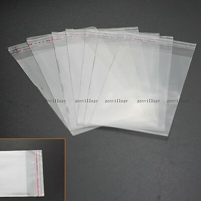 100pcs OPP Clear Self Adhesive Seal Plastic Storage Bags 7x12CM Small Items