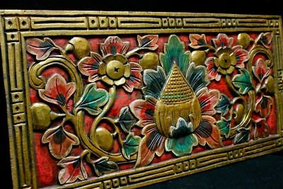 """Balinese Lotus Panel architectural Relief Wood Carving Bali wall Art Red 24"""""""