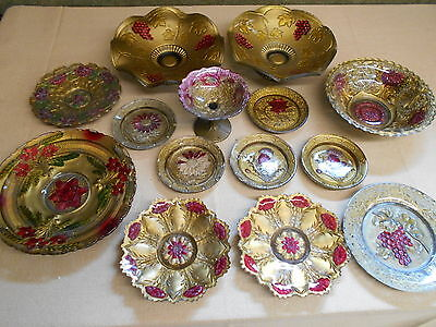 Large Lot Of Assorted Antique Goofus Glass - Bowls & Plates