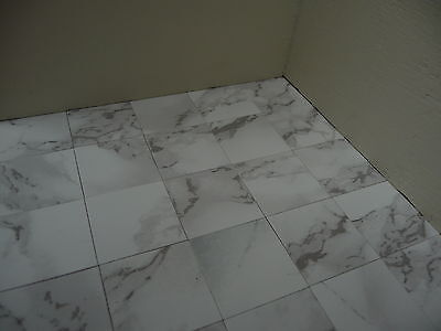 "100 Marble-esque 1:12th Scale 1"" LIGHT VEINED WHITE Dolls House Floor Tiles"