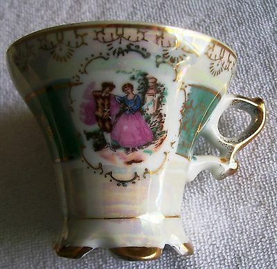 VINTAGE  JAPAN VICTORIAN TEA CUP WITH COURTING COUPLE, TEAL AND GOLD TRIM