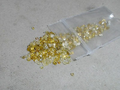 over 1/4 ct yellow natural diamond loose faceted rounds 1.5mm each
