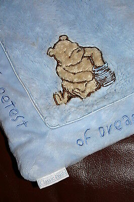 Classic POOH Baby Boy Blue plush blanket THE SWEETEST of DREAMS lovey soft EUC