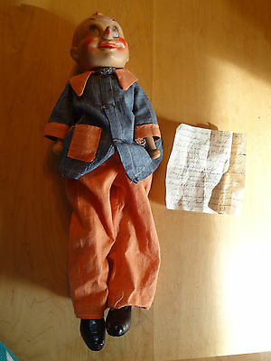 Old composition/wood PINNOCCHIO unusual doll w/ note from previous owner