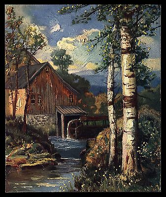 """VINTAGE 1940'S """"THE BIRCHES BY THE OLD MILL"""" STREAM SUNNY DAY CALENDAR ART PRINT"""