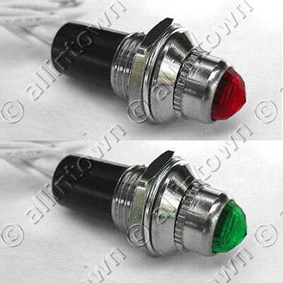 RED GREEN 12v Indicator Lights Pilot Dash Toggle Signal Warning Instrument Panel