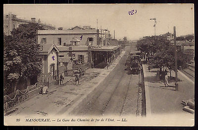 GARE Railway Station with TRAIN - Old Postcard Mansourah (Algeria ?)