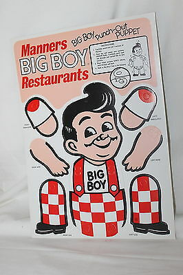 "Vintage Cardboard Elias Brothers Big Boy Advertising Punch Out Puppet 14"" X 10"""