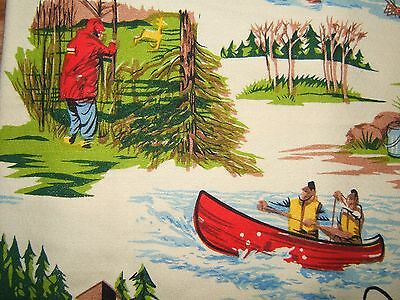 *PERFECT* FISHING & HUNTING Camping Fly Fishing Country Cotton Tablecloth 66x52