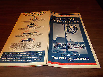 1934 Pure Oil Illinois Vintage Road Map / Great Cover Graphics