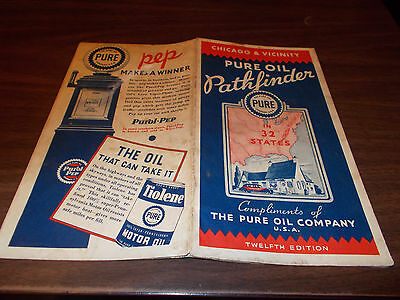 1935 Pure Oil Chicago & Vicinity Vintage Road Map / Great Cover Graphics