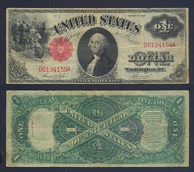 USA 1 Dollar 1917 Red Seal Fine P 187 (1)