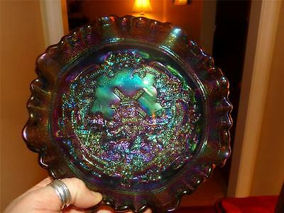 CARNIVAL SUPER OLD IMPERIAL GLASS PURPLE-BLACK AMETHYST WINDMILL BOWL -MARKED IG