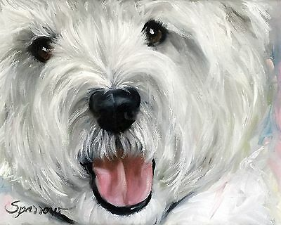 MARY SPARROW Westie West Highland White Terrier Dog  Portrait Print of Original