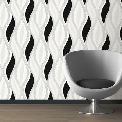 Black Glitter Waves Silver White Quality Textured Vinyl Feature Wallpaper