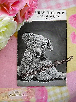 LARGE PRINT Vintage 1940s Toy Dog Knitting Pattern 'Curly The Pup' JUST £1.99 !!